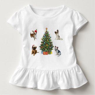 Perros en los gorras de Santa Camiseta De Bebé