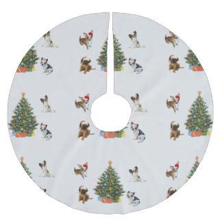 Perros en los gorras de Santa Falda Para El Árbol De Navidad
