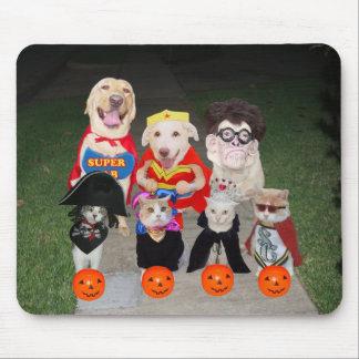 Perros y gatos divertidos Halloween Tapetes De Ratón