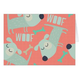 Perros y huesos del tejido tarjeta de felicitación