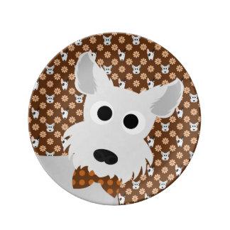 Perros y placa de la porcelana de Brown de las Plato De Cerámica
