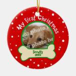 Persiga mi primer navidad rojo y la foto verde del ornaments para arbol de navidad