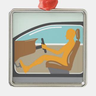 Persona de la vista lateral del coche ningún saco adorno navideño cuadrado de metal