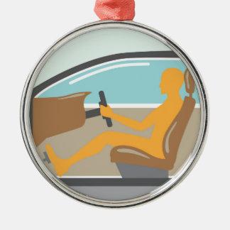 Persona de la vista lateral del coche ningún saco adorno navideño redondo de metal