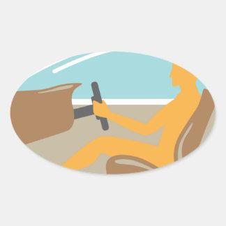 Persona de la vista lateral del coche ningún saco pegatina ovalada