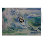 Persona que practica surf de la panda tarjeta de felicitación
