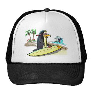 persona que practica surf del pingüino gorras