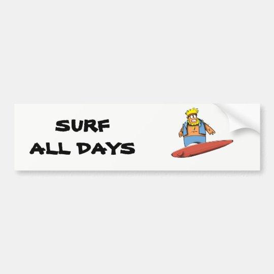 Persona que practica surf feliz pegatina para coche