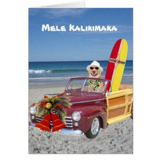 Persona que practica surf/navidad hawaiano tarjeta de felicitación