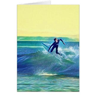Persona que practica surf tarjeta de felicitación