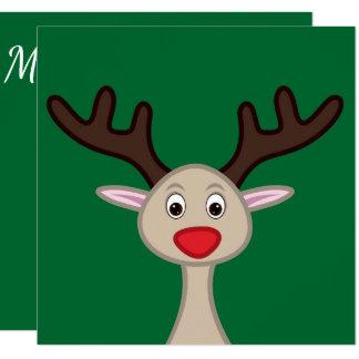 Personaje de dibujos animados del reno invitación 13,3 cm x 13,3cm