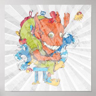 personaje de dibujos animados divertido del vector póster