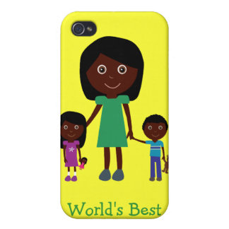 Personajes de dibujos animados étnicos lindos de l iPhone 4 carcasa