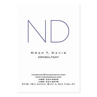 Personal elegante moderno blanco del monograma tarjetas de visita grandes