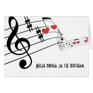 Personal musical con las notas y los corazones tarjeta de felicitación