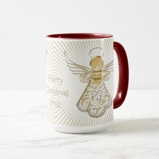 Personalice: Ángel afiligranado del navidad del Taza