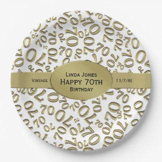 Personalice:  Blanco y 70.o tema del cumpleaños Plato De Papel
