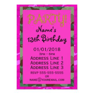 Personalice - Camo rosado Invitación 12,7 X 17,8 Cm