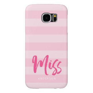 Personalice con Srta. conocida Pink Stripes Preppy Funda Samsung Galaxy S6