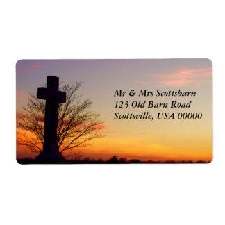 (Personalice) cruz santa en la puesta del sol Etiquetas De Envío