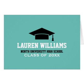 Personalice el casquillo del graduado de las tarjeta de felicitación