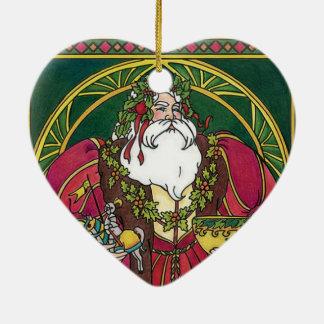 Personalice el ornamento del navidad adorno navideño de cerámica en forma de corazón