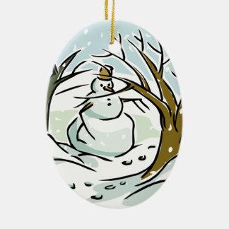 Personalice el ornamento del navidad adorno navideño ovalado de cerámica