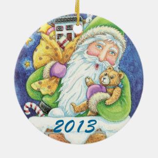 Personalice el ornamento del navidad de Santa Adorno Navideño Redondo De Cerámica