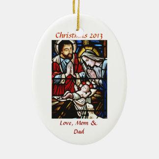 Personalice el ornamento religioso del navidad ornamentos de navidad