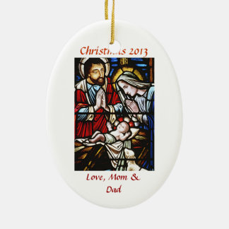 Personalice el ornamento religioso del navidad adorno navideño ovalado de cerámica