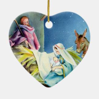 Personalice el ornamento religioso del tema adorno navideño de cerámica en forma de corazón