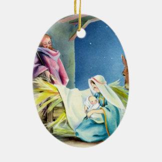 Personalice el ornamento religioso del tema adorno navideño ovalado de cerámica