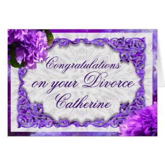 Personalice esta tarjeta violeta del divorcio de