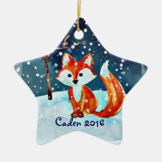 Personalice este zorro lindo en invierno adorno navideño de cerámica en forma de estrella