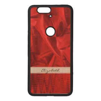 Personalice: Falsa tela metálica roja viva de Lame Fundas De Madera Para Nexus S6p
