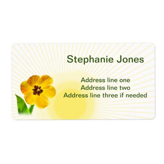 Personalice:  Imagen amarilla de los tulipanes del Etiqueta De Envío