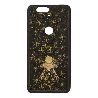 Personalice: Oro/ángel negro del navidad de la Fundas De Madera Para Nexus S6p