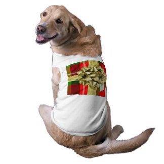 Personalice: Regalo de Navidad rojo del tartán Camiseta Sin Mangas Para Perro