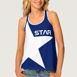 Personalizable azul del fondo de la estrella camiseta de tirantes