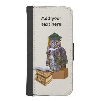 Personalizable chistoso del búho de la graduación cartera para iPhone 5