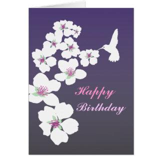 Personalizable: Colibrí y flor en púrpura Felicitaciones