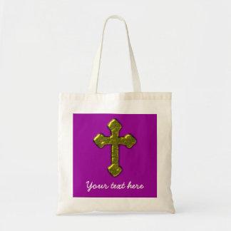 Personalizable cristiano púrpura bolso de tela