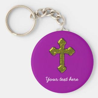 Personalizable cristiano púrpura llavero redondo tipo chapa