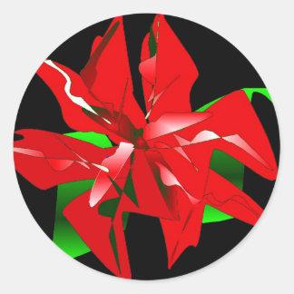 Personalizable de la flor del navidad pegatina redonda