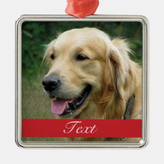 Personalizable de la foto del mascota adorno navideño cuadrado de metal