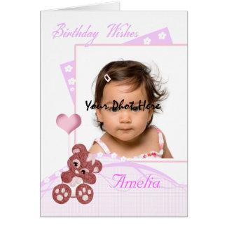 personalizable de la tarjeta de la foto del cumple