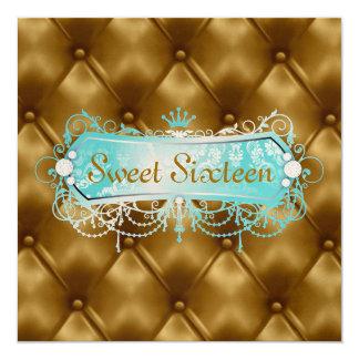 Personalizable de oro del penacho de la dicha de invitación 13,3 cm x 13,3cm