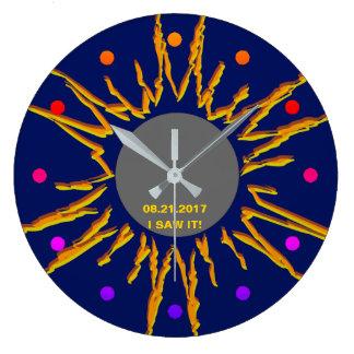 Personalizable divertido total del eclipse solar reloj redondo grande