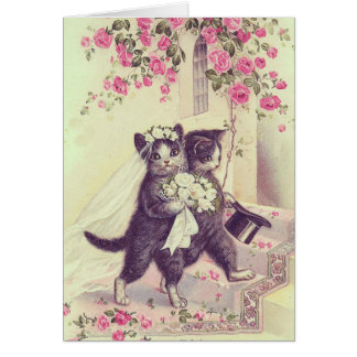 Personalizable en blanco de los gatos del boda tarjeta de felicitación
