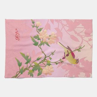 Personalizable: Flores y pájaro Toalla De Cocina